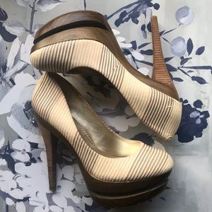 Jessica Simpson Colie Sand Striped Wooden Heels